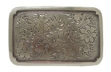 Engraved Rectangular Frame Sterling Silver Plated Western Belt Buckle