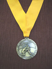 "gold  WRESTLING 2 1/2"" dia medal wide yellow neck drape"