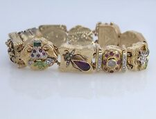 Rare Vintage Victorian 14K Yellow Gold Duke Old Mine Cut Diamond Charm Bracelet