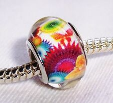 Orange Blue Pink Retro Flowers Resin Bead fits European Style Charm Bracelets