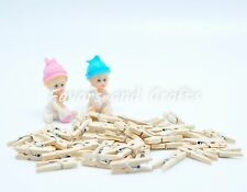 50 Small Wood Clothes Pins Baby Shower Favors Party Decorations Girl Boy