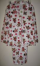 Karen Neuburger XL KN Gingerbread Man Ivory Red Girlfriend Fleece Pajama's