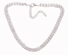 Sophisticated 2 Row Diamante Stack /adjustable Chrome Choker Necklace(Zx216)