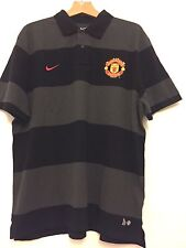 Manchester United Nike men's grey cotton football polo shirt 2011-12 Size XXL