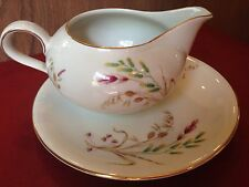 Treasure Chest Bavarian hand painted harvest guilded cream pitcher, small plate