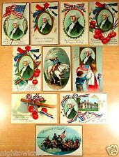 10 Embossed Postcards PRESIDENT GEORGE WASHINGTON BIRTHDAY Ellen Clapsaddle 1909