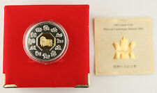 Canada 2003 1 Oz Silver Year of Goat GEM Proof Coin Gold Plated +BOX & COA