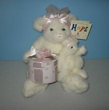"New 16"" St Jude Charity Bear Jackie & Jordan White Teddy Bear Holding Gift Box"
