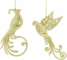 Set of 2 Gold Glitter Birds Christmas Tree Decorations  NEW  19137