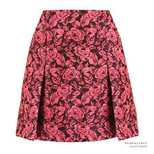 Erdem Luxurious Pink Bordeaux Rose Floral Jacquard Calista Skirt UK10 IT42