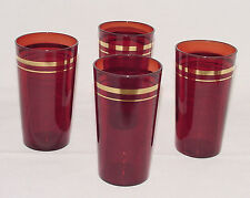 SET OF FOUR Perfect Vintage Ruby Red w/Gold Trim WATER TUMBLERS!!