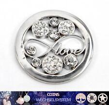 COIN COINS MÜNZEN Silber LOVE Kristall 33mm kompatibel mit Quoins Moneda