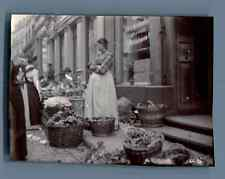Germany, Koblenz, Open Market  Vintage citrate print. Vintage Germany.  Tirage