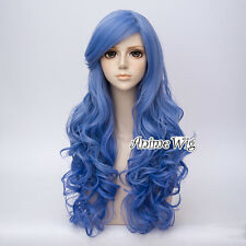 65CM Women Party Blue Long Curly Lolita Hair Cosplay Wig Heat Resistant