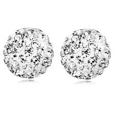 Shamballa White Crystal Disco Balls 10 mm Bridal Party Stud Earrings E819