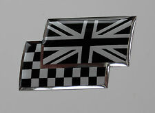UNION JACK/CHEQUERED Sticker/Decal - CHROME/BLACK HIGH GLOSS DOMED GEL FINISH