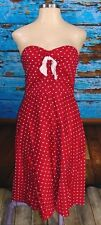 STOP STARING! Red White PolkaDot Strapless Swing Dress 1X 14 16 Rockabilly PinUp