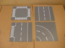 "LEGO BASE PLATE ROADS SECT. 32x32 DOTS 10"" SQ. 4PC LOT 44343 44336 44341 GREY #"