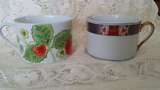 Lot of 2 Vintage Fitz & Floyd Flat Cups 1 Nishiki & 1 Wild Strawberry Pattern