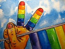 Rainbow Flag colors Gay Victory Watercolor Collectible ACEO Art Card