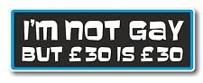 Funny Novelty I'M NOT GAY BUT £30 IS £30 ! vinyl car bumper truck sticker Decal