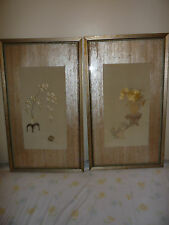 Set of Framed Antique Chinese Floral Embroidery Pieces
