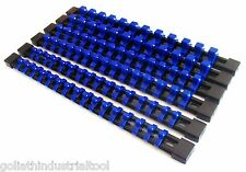 6 GOLIATH INDUSTRIAL ABS MOUNTABLE SOCKET RAIL HOLDER ORGANIZER BLUE 1/4 3/8 1/2