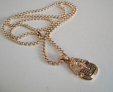 Mens Gold Finish Egyptian Pharaoh Hip-Hop Pendant with Complementary Chain