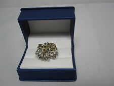 SIGNED RCI 18K YELLOW GOLD & STERLING ANCHOR LINK DANGLING CLUSTER RING ITALY