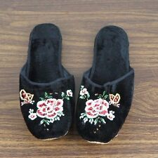 Pair of Embroidered Chinese Women Floral Velvet Slippers in Black Size 40 New
