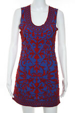 Sachin & Babi Blue Red Indian Odissi Sheath Dress Size 2 New $350 10125571