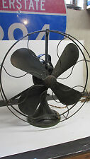VINTAGE GE GENERAL ELECTRIC DESK FAN OSCILLATING ARMY GREEN Brass Blades