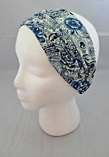 Blue white paisley headband thick thin kerchief soft fabric 8 inch wide elastic