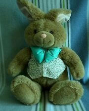 "22"" Heads & Tails Gund Easter Rabbit Pink Ears Green Bow Tie Roses Printed Vest"
