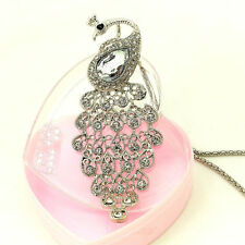 Fashion Silver Peacock Crystal Sweater chain Charm necklace Pendants DL611