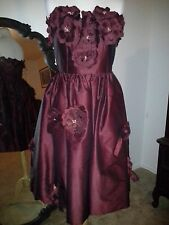 Burgundy Wine Strapless Dress Corset Flowers Prom Costume Theatre Halloween