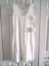 NEW WITH TAGS CALVIN KLEIN SEQUINNED WHITE SLIP ON DRESS SIZE 2