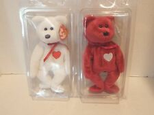 New Set of Two Ty Beanie Babies Valentino & Valentina Multiple tag errors