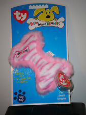 Ty Bow Wow Beanies ~ LIL' PINK STRIPE BONE - Crinkle/Squeak Toy NEW w/ MINT TAGS