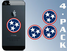 4-Pack 1.5 inch ROUND Tennessee 3 Stars Cell Phone Stickers - decal tn nashville