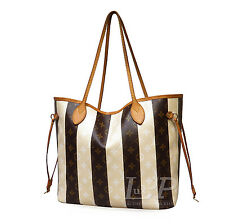 Louis Vuitton Neverfull MM Monogram Rayures Tote Bag Authentic Leather M40560 LV