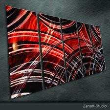 Modern Original Metal Wall Art Abstract Red Black Silver In-Outdoor Decor-Zenart