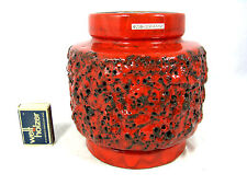 Well shaped 70´s design Otto Keramik Fat Lava pottery vase original label 16 cm