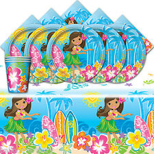 Tropical Summer BBQ Hawaiian Hula Girl Beach Child's Party Tableware Pack For 16