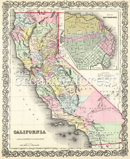 OLD MAP OF CALIFORNIA, 1857 Vintage State Map Rolled CANVAS PRINT 24x29 in.