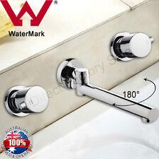 180° Swivel Bathtub Spout W taps Mixer Faucet Set Wall Mounted Brass Watermark