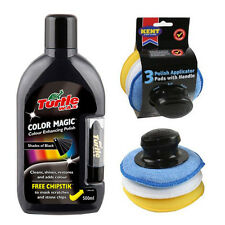 Turtle Wax BLACK Colour Magic Restorer Car Polish Chipstick + Applicator Pad Set