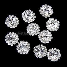 10x Crystal Diamante Pearl Flatback Embellishment Wedding Favor Decor 15mm