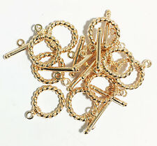 10 sets of Gold Plated brass twisted Toggle Clasp, bulk toggle clasp