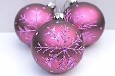 §GISELA GRAHAM CHRISTMAS MATT PURPLE GLITTER DIAMANTE SNOWFLAKE GLASS BAUBLE X 3